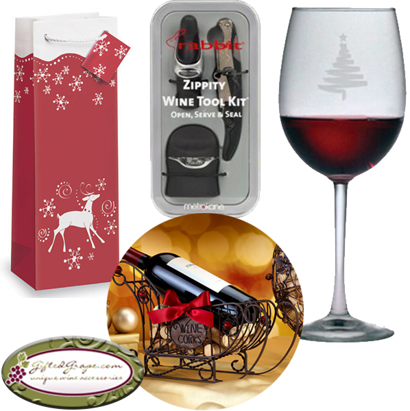 Christmas Wine Gift Basket Set