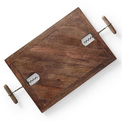 Corkscrew Wine and Cheese Serving Board