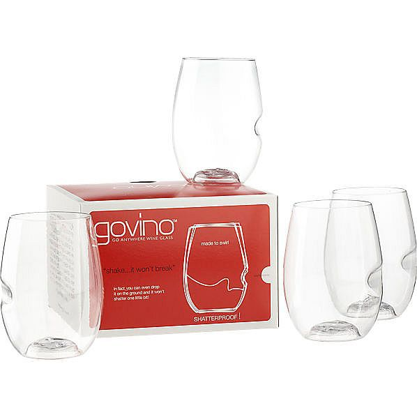 govino acrylic stemless wine glass set of 4