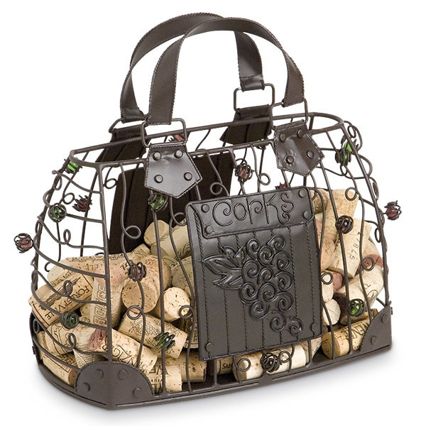 Handbag shaped cork holder cage