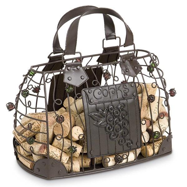 Handbag shaped cork holder cage