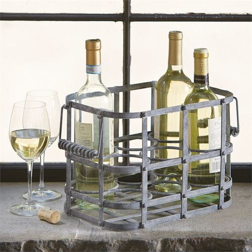 Metal Wine Bottle Caddy - holds six bottles of wine
