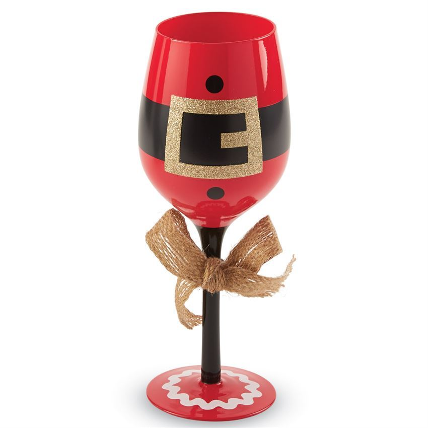 Santa Suit Wine Glass