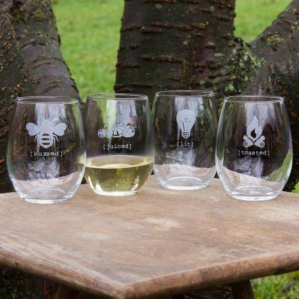 Tipsy Stemless Wine Glasses Set of 4