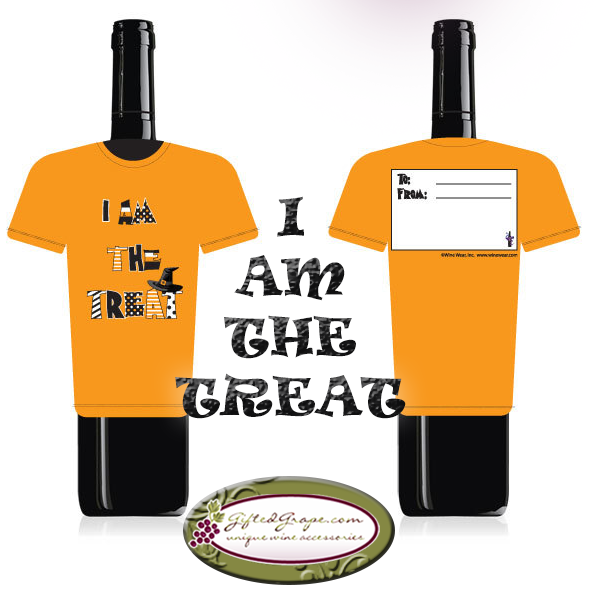 I Am The Treat Halloween wine bottle gift tag