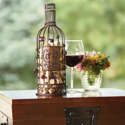 Wine bottle cork cage and wine bottle holder
